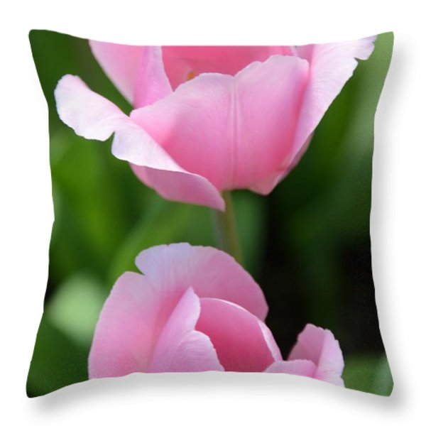 Pink Twins Throw Pillow by Kathleen Struckle