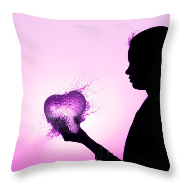 Pink Water Heart Throw Pillow by Tim Gainey
