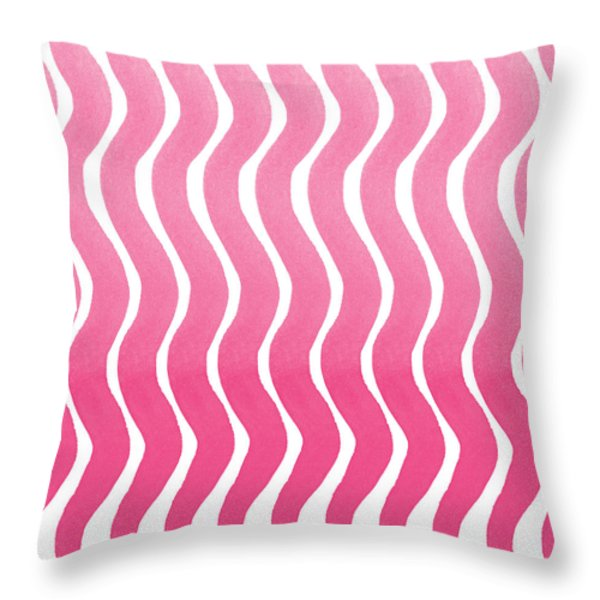 Pink Waves- Abstract Watercolor Pattern Throw Pillow by Linda Woods