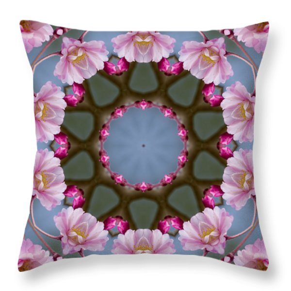 Pink Weeping Cherry Blossom Kaleidoscope Throw Pillow by Kathy Clark