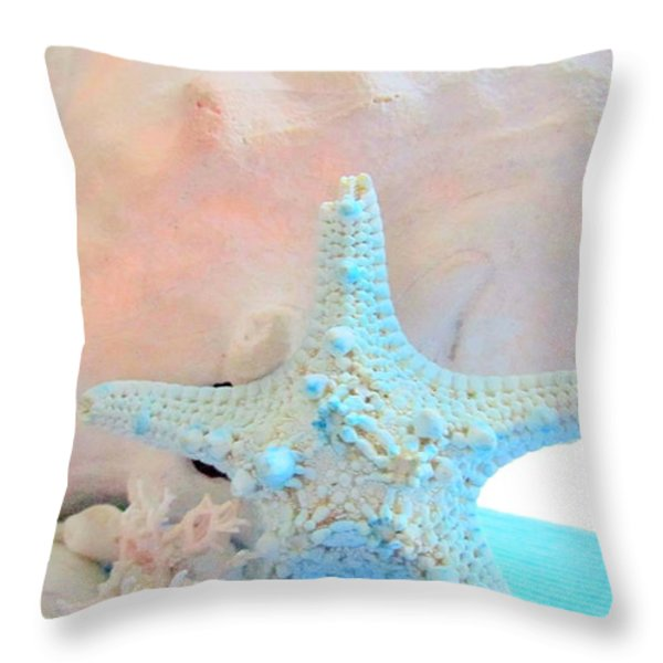 Pink White And Blue Conch And Sea Shells Throw Pillow by Danielle  Parent