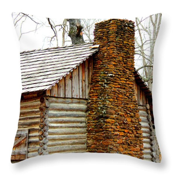 Pioneer Log Cabin Chimney Throw Pillow by Kathy  White