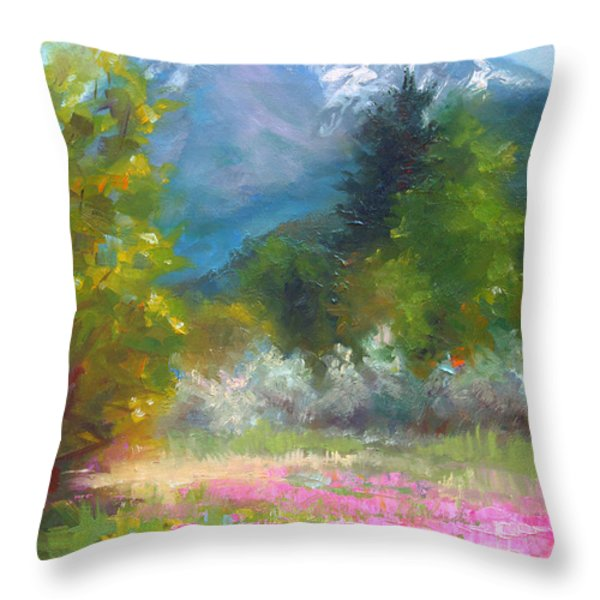 Pioneer Peaking - flowers and mountain in Alaska Throw Pillow by Talya Johnson