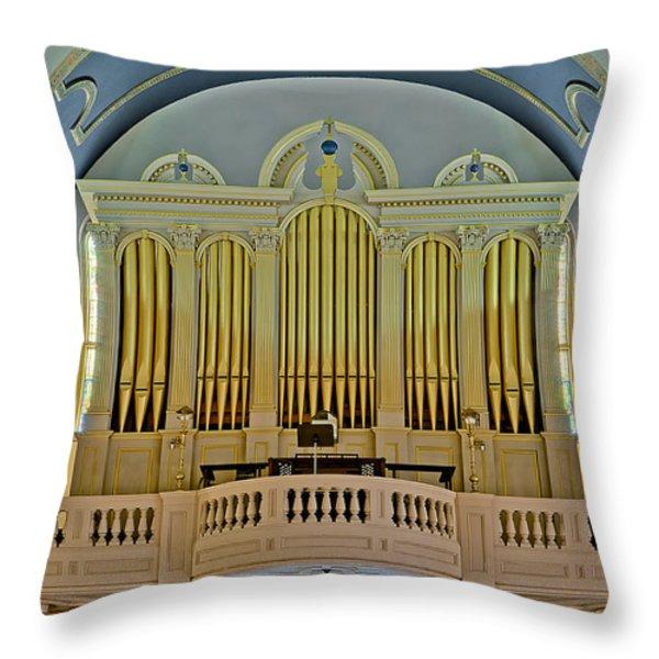 Pipe Organ At Saint Michaels Throw Pillow by Susan Candelario