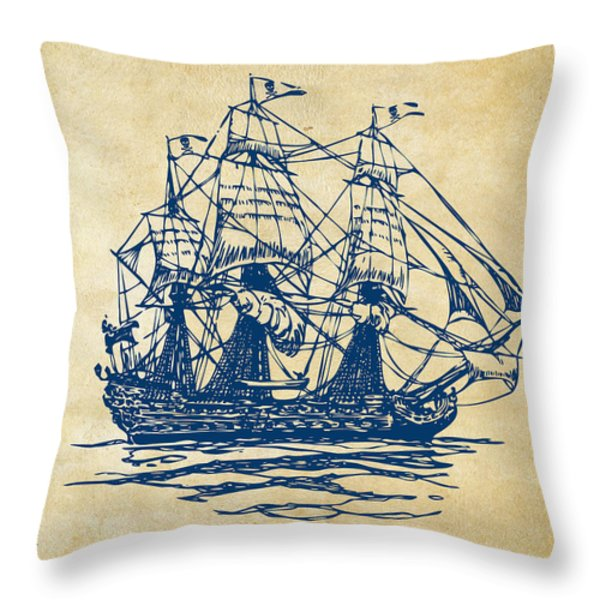Pirate Ship Artwork - Vintage Throw Pillow by Nikki Marie Smith