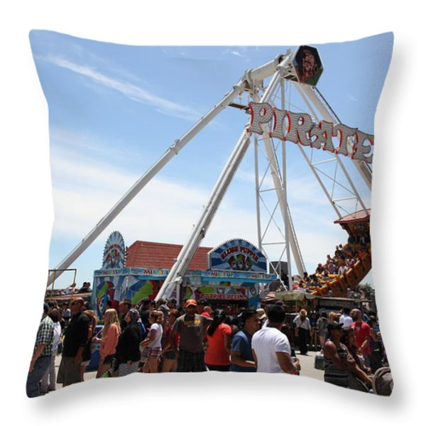 Pirate Ship At The Santa Cruz Beach Boardwalk California 5D23854 Throw Pillow by Wingsdomain Art and Photography