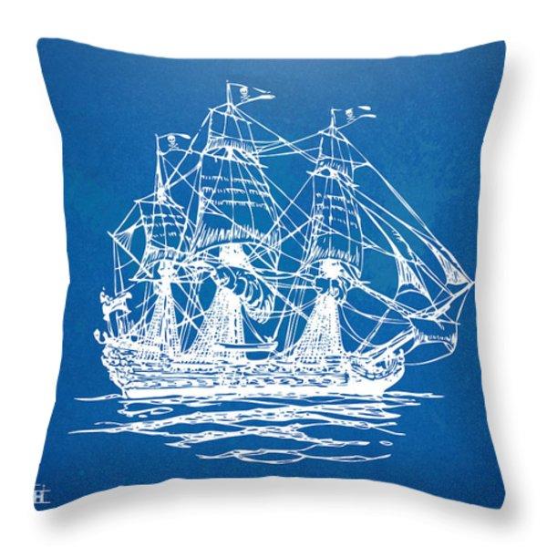 Pirate Ship Blueprint Artwork Throw Pillow by Nikki Marie Smith