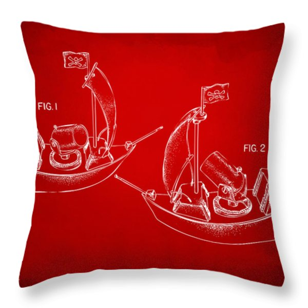 Pirate Ship Patent Artwork - Red Throw Pillow by Nikki Marie Smith