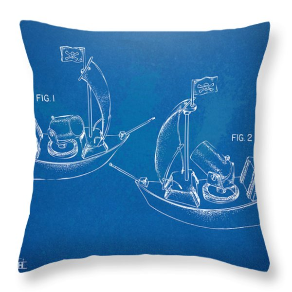 Pirate Ship Patent - Blueprint Throw Pillow by Nikki Marie Smith