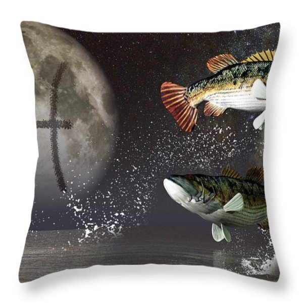 Pisces Zodiac Symbol Throw Pillow by Daniel Eskridge