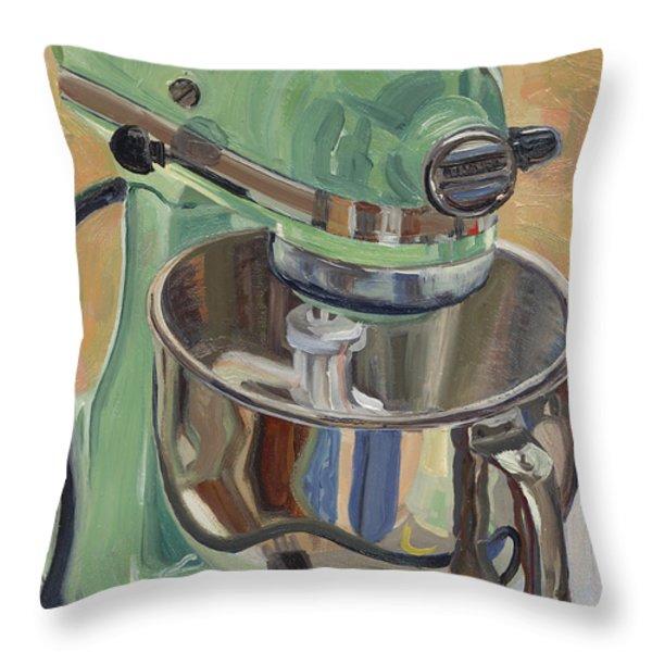 Pistachio Retro Designed Chrome Flour Mixer Throw Pillow by Jennie Traill Schaeffer