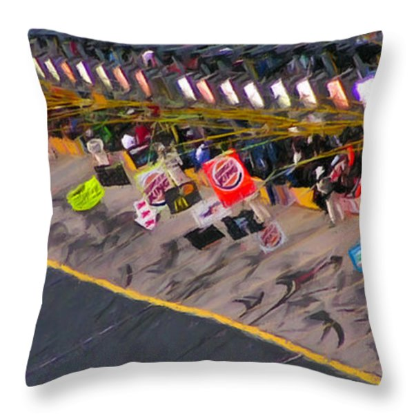 Pit Road Throw Pillow by Kenneth Krolikowski