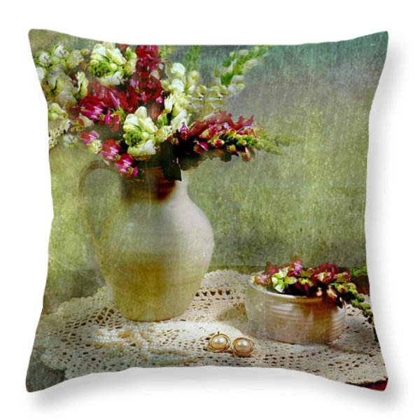 Pitcher of Snapdragons Throw Pillow by Diana Angstadt