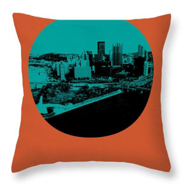 Pittsburgh Circle Poster 1 Throw Pillow by Naxart Studio