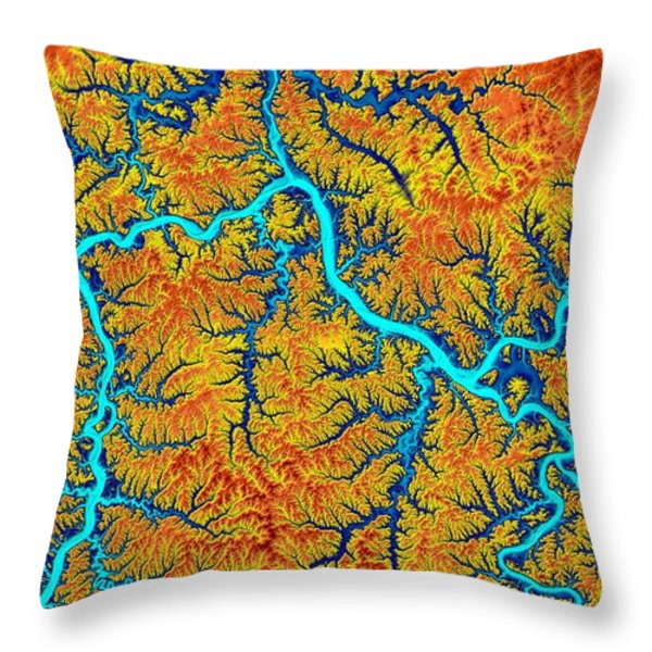 Pittsburgh Map Art Throw Pillow by Paul Hein