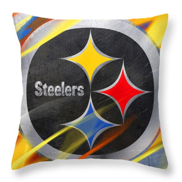 Pittsburgh Steelers Football Throw Pillow by Tony Rubino