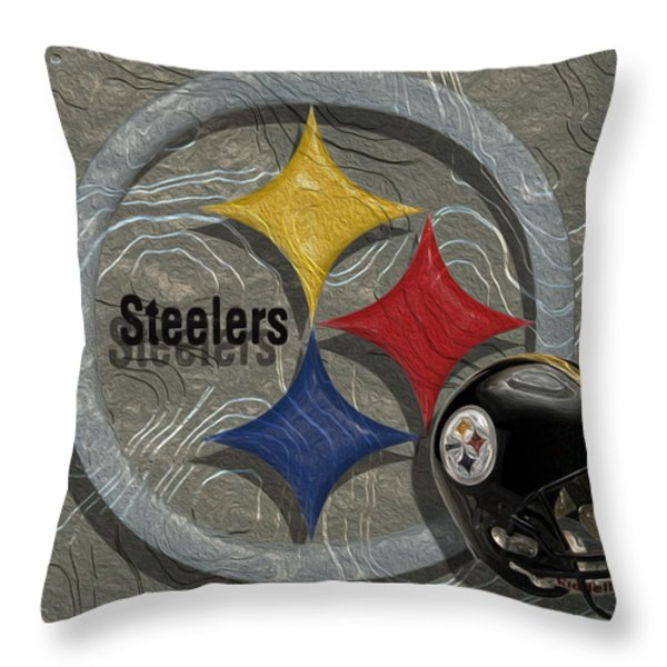 Pittsburgh Steelers Throw Pillow by Jack Zulli