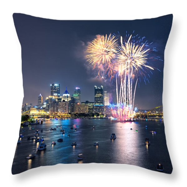 Pittsburgh the 4th  Throw Pillow by Emmanuel Panagiotakis