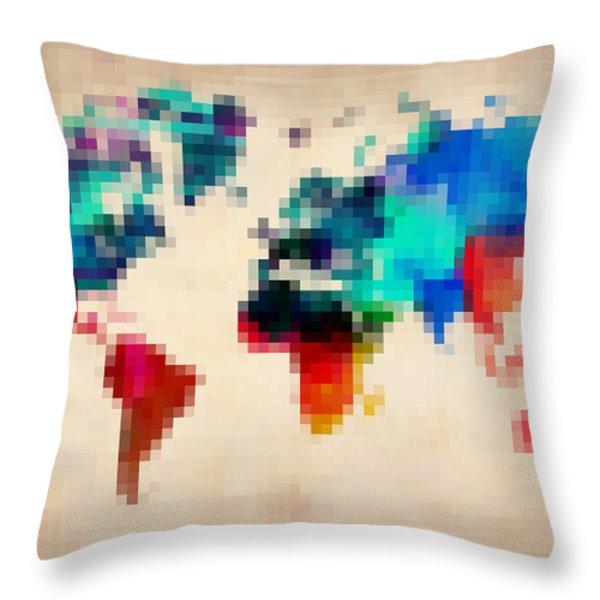 Pixelated World Map Throw Pillow by Naxart Studio