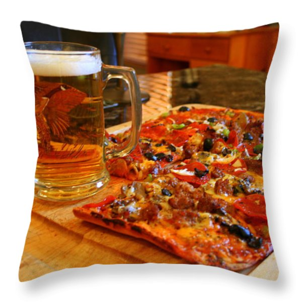 Pizza And Beer Throw Pillow by Kay Novy