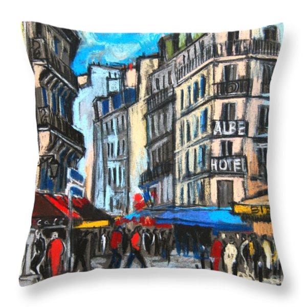 Place Saint-michel In Paris Throw Pillow by Mona Edulesco