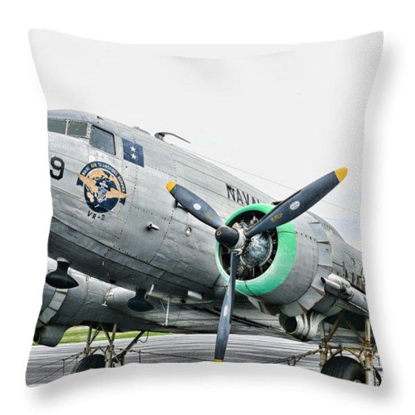 Plane Naval Air Transport Service Throw Pillow by Paul Ward