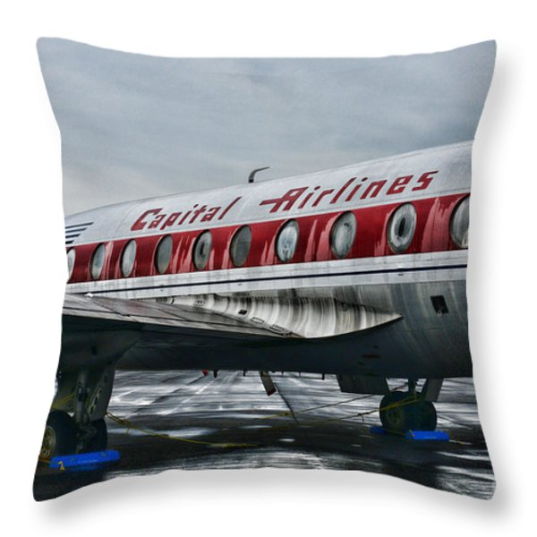 Plane Obsolete Capital Airlines Throw Pillow by Paul Ward