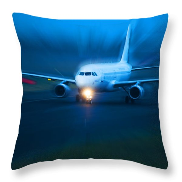 Plane Takes Of At Dusk Throw Pillow by Michal Bednarek