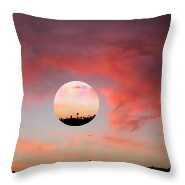 Planet and Sunset Throw Pillow by Augusta Stylianou