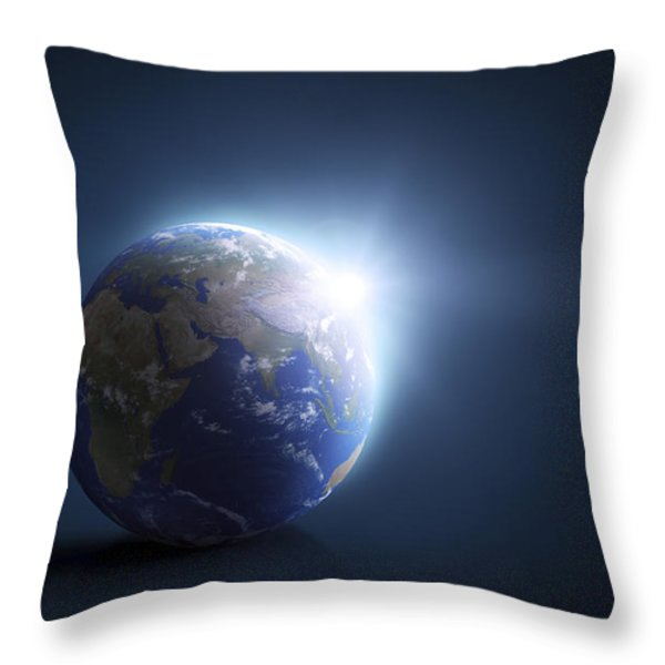 Planet Earth And Sunlight On A Dark Throw Pillow by Evgeny Kuklev