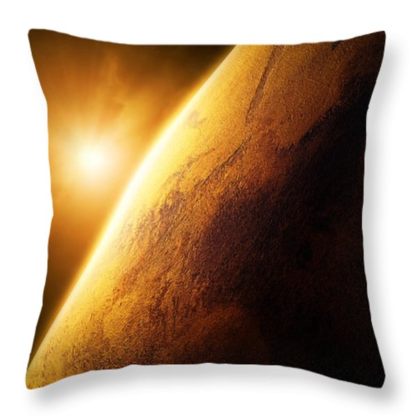 Planet Mars close-up with sunrise Throw Pillow by Johan Swanepoel