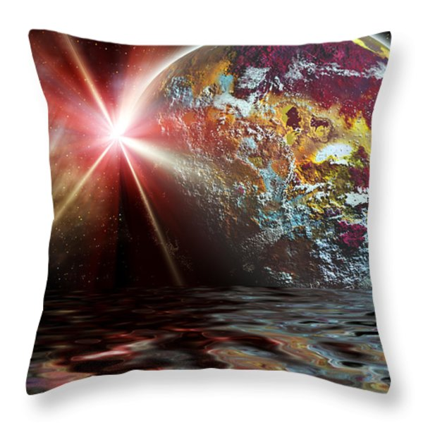 Planet Zorcon Throw Pillow by Camille Lopez