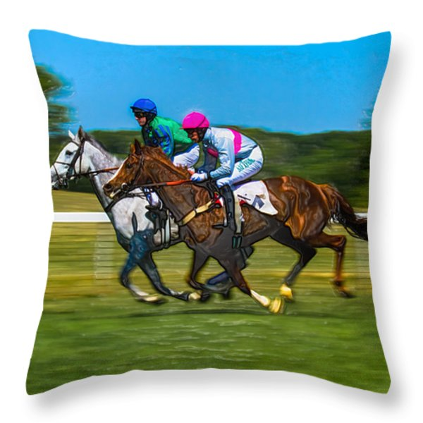 Plastic Wrapped Steeplechase Throw Pillow by Robert L Jackson