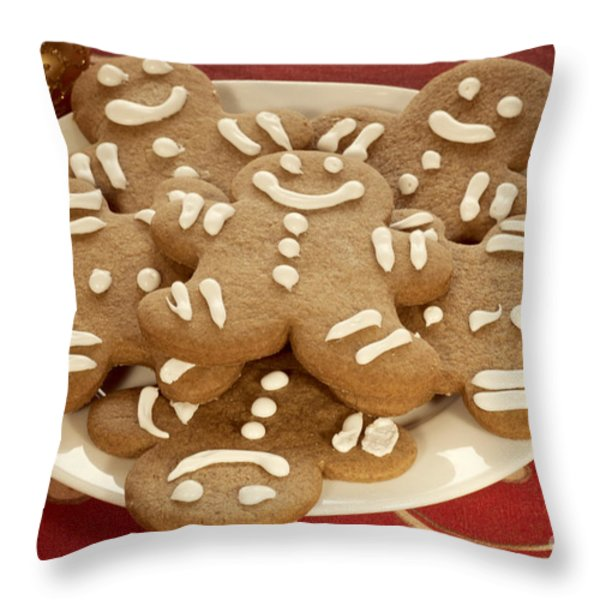 Plateful of Gingerbread Cookies Throw Pillow by Juli Scalzi