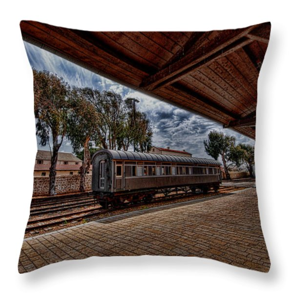 platform view of the first railway station of Tel Aviv Throw Pillow by Ron Shoshani