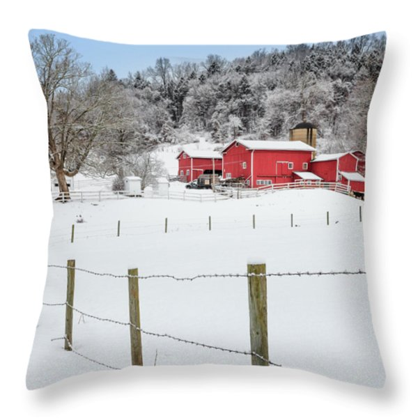 Platt Farm Square Throw Pillow by Bill  Wakeley