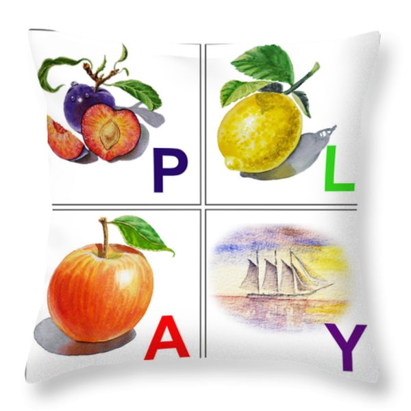 PLAY Art Alphabet for Kids Room Throw Pillow by Irina Sztukowski