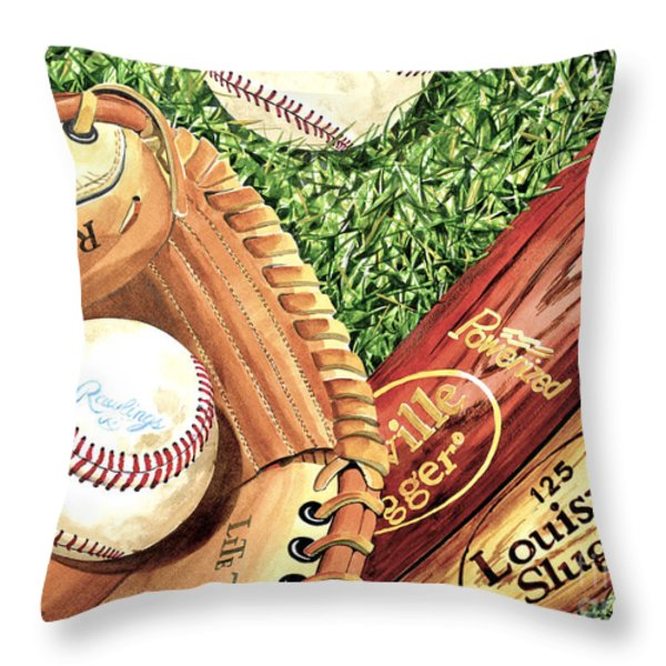 Play Ball Throw Pillow by Rick Mock