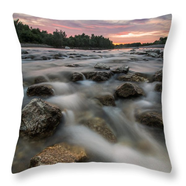 Playful River Throw Pillow by Davorin Mance