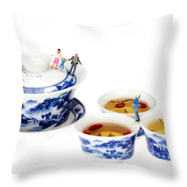 Playing among blue-and-white porcelain little people on food Throw Pillow by Paul Ge