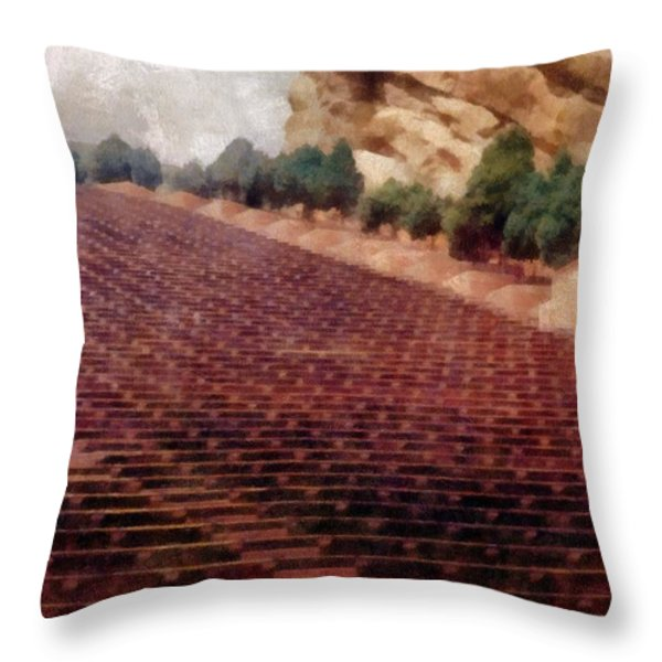 Playing at Red Rocks Throw Pillow by Michelle Calkins