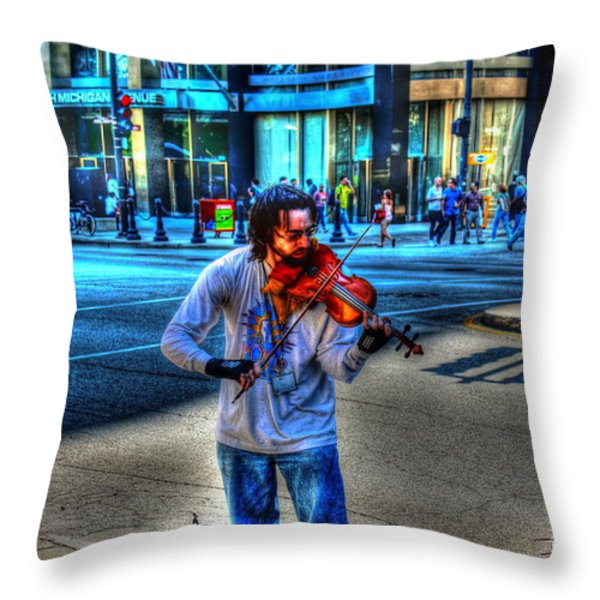 Playing For Pennies Throw Pillow by Dan Stone