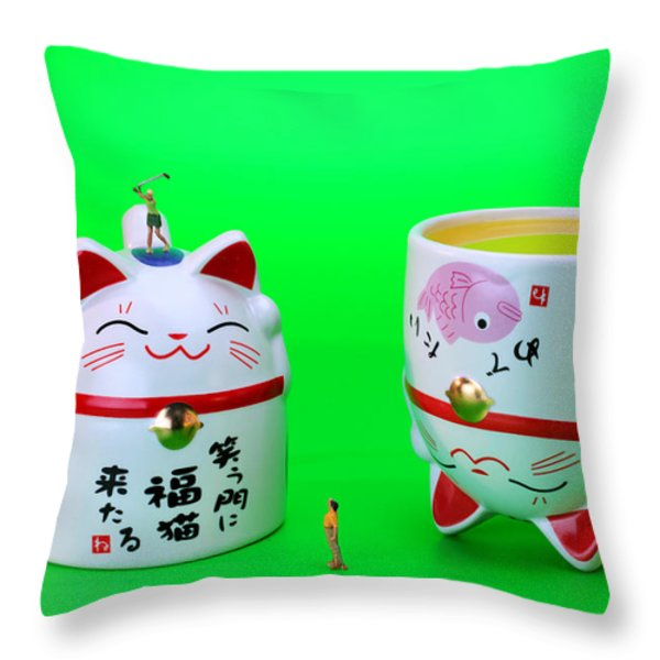 Playing Golf On Cat Cups Throw Pillow by Paul Ge