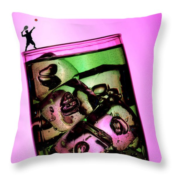 Playing tennis on a cup of lemonade little people on food Throw Pillow by Paul Ge