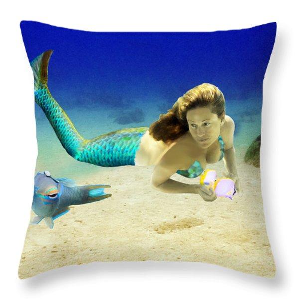 Playmates Throw Pillow by Paula Porterfield-Izzo