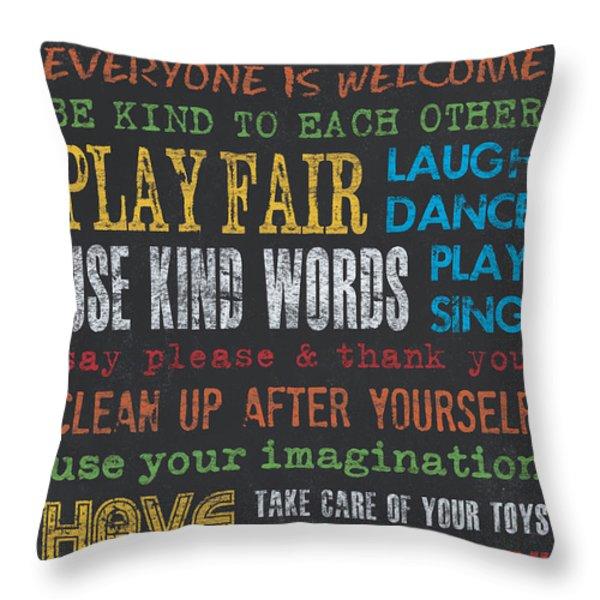 Playroom Rules Throw Pillow by Debbie DeWitt