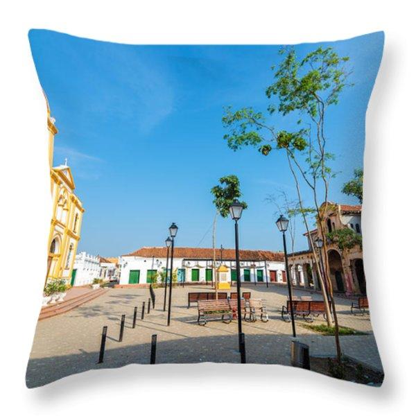 Plaza in Mompox Throw Pillow by Jess Kraft