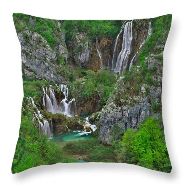 Plitvice Throw Pillow by Ivan Slosar