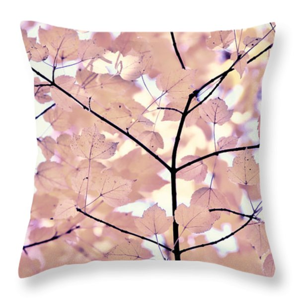 Plum Cream Leaves Melody Throw Pillow by Jennie Marie Schell