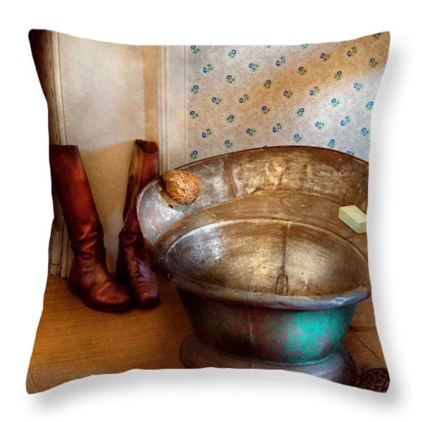 Plumber - Bath Day Throw Pillow by Mike Savad